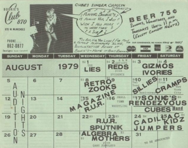 1979 Calendar August.Bookie S Club 870 The Concert Database